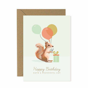 Squirrel Happy Birthday Card