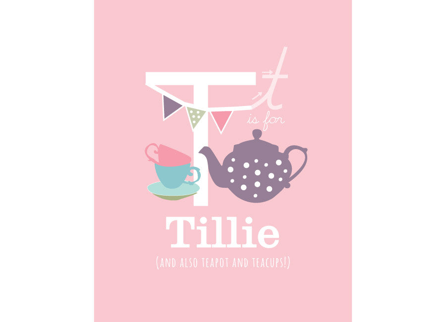 Illustration of a teapot with teacups and bunting, and t is for teapot with personalised childs name