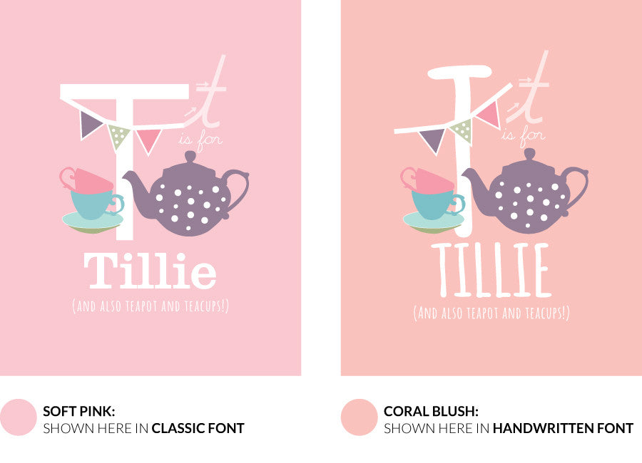 Colour variants for t is for teapot print showing the design in soft pink and coral blush.