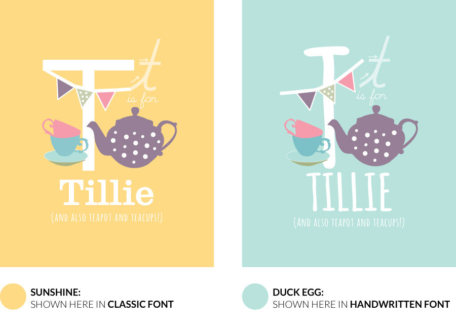 Colour variants for t is for teapot print showing the design in sunshine and duck egg.