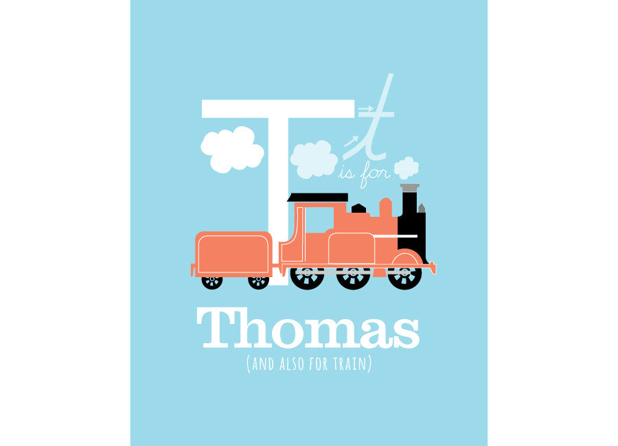 Illustration of a train with t is for train and personalised childs name