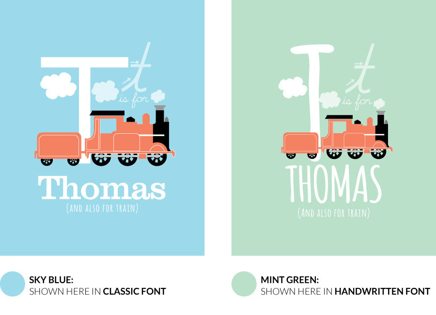 Colour variants for t is for teapot print showing the design in sky blue and mint green.