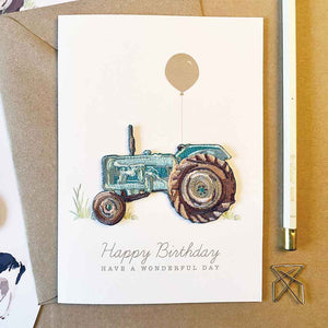 Tractor Iron On Patch Birthday Card
