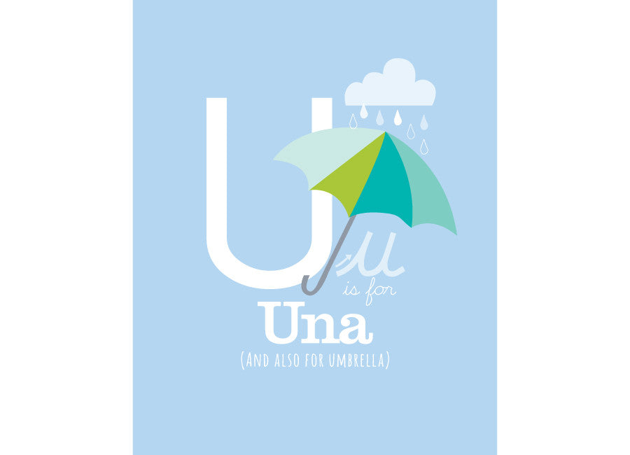 Illustration of an umbrella with u is for umbrella and personalised childs name