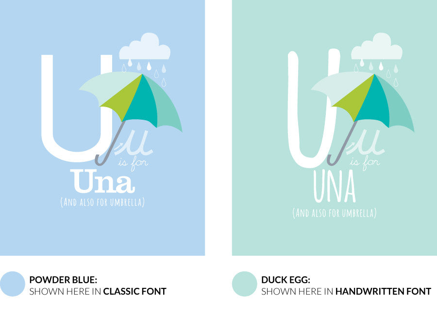 Colour variants for u is for umbrella print showing the design in powder blue and duck egg.