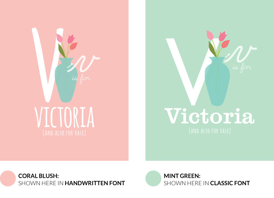 Colour variants for v is for vase print showing the design in coral blush and mint green.