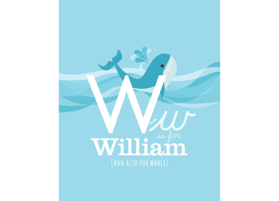 Illustration of a whale with w is for whale and personalised childs name