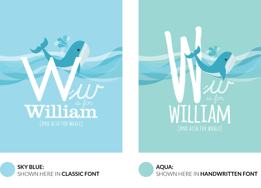 Colour variants for w is for whale print showing the design in sky blue and aqua.