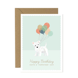 West Highland Terrier with ballons birthday card