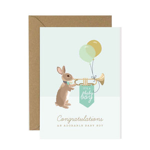 New Baby Boy Rabbit Card