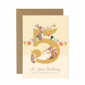 5th Birthday Card Woodland Parade