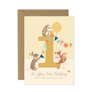 1st Birthday Card Woodland Parade