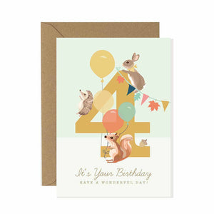 4th Birthday Card Woodland Parade