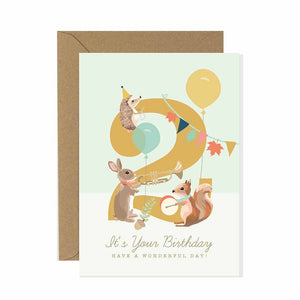 2nd Birthday Card Woodland Parade