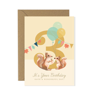 3rd Birthday Card Woodland Parade