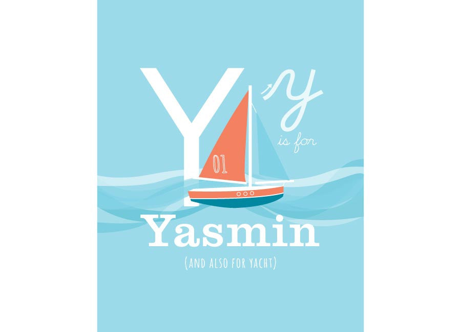 Illustration of a yacht with y is for yacht and personalised childs name