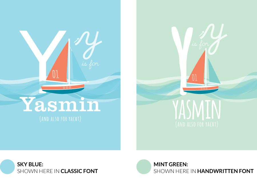 Colour variants for y is for yacht print showing the design in sky blue and mint green.