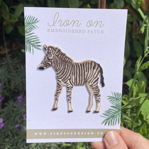 Zebra Iron On Embroidered Patch