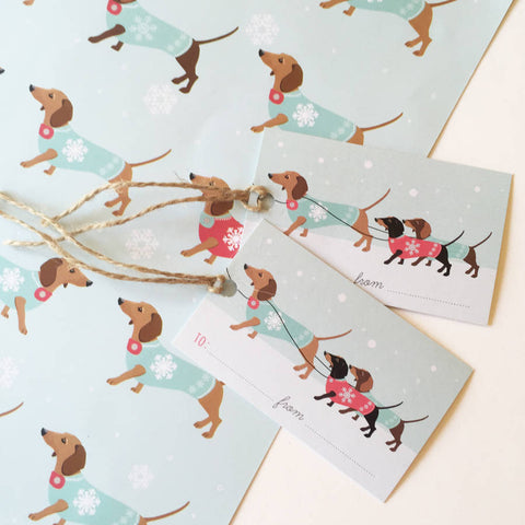 Dachshund Christmas Wrapping Paper Pack