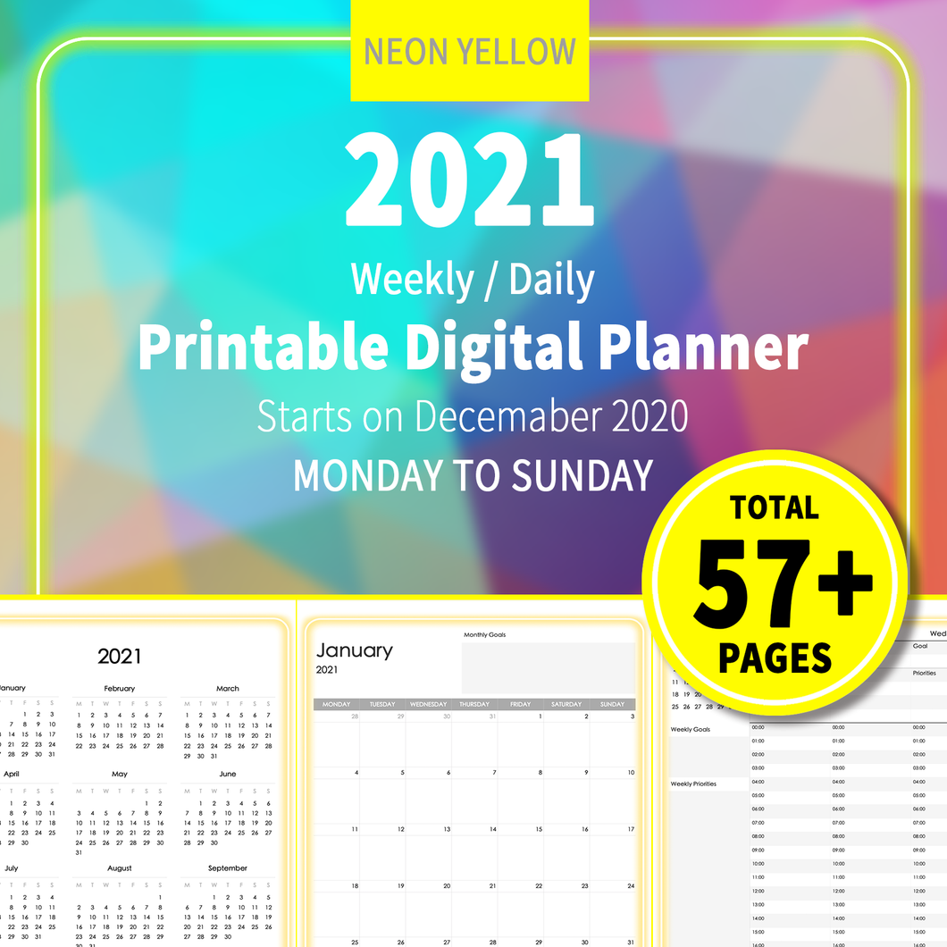 2021 Neon Yellow : Printable Weekly Daily Planner, iPad Planner, Goodnotes Planner, Digital Journal, Notability, Goodnotes Template