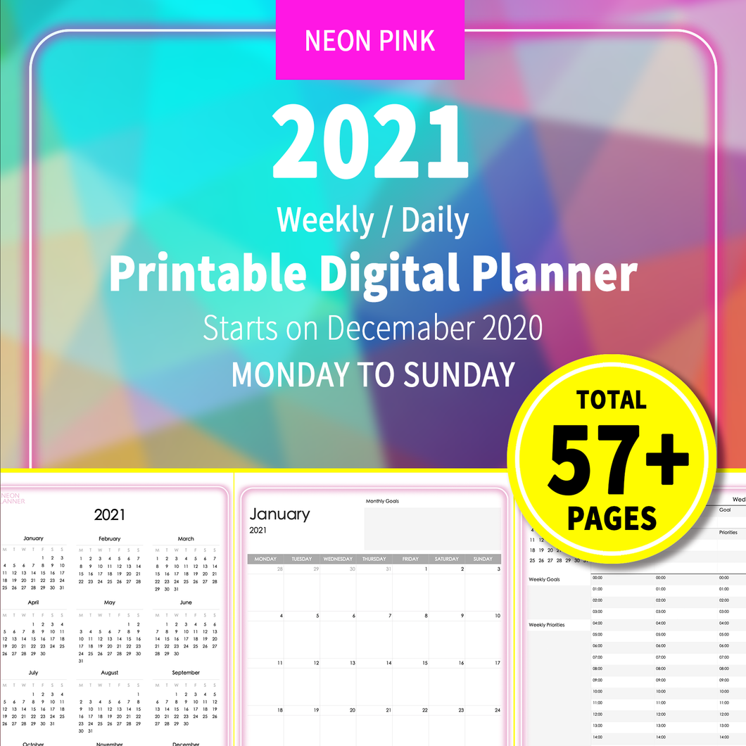 2021 Neon Pink : Printable Weekly Daily Planner, iPad Planner, Goodnotes Planner, Digital Journal, Notability, Goodnotes Template