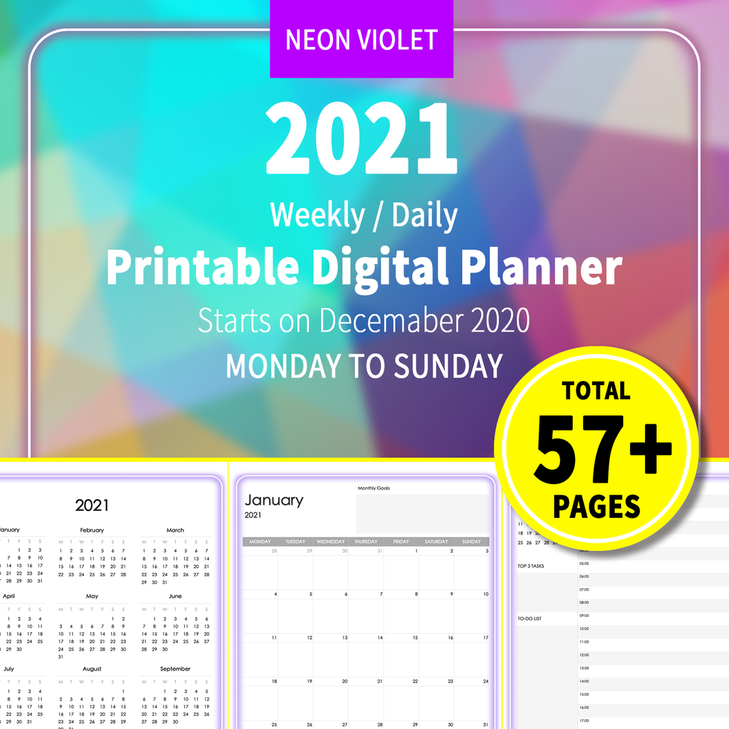 2021 Neon Violet : Printable Weekly Daily Planner, iPad Planner, Goodnotes Planner, Digital Journal, Notability, Goodnotes Template