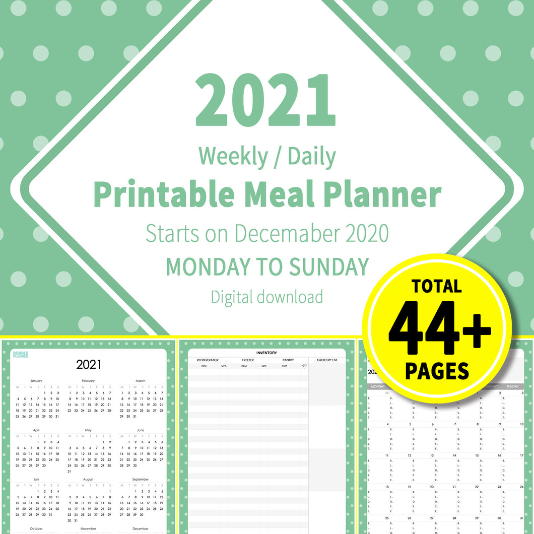 2021 Bubble Green : Printable Meal Planner, iPad Planner, Goodnotes Planner, Digital Journal, Notability, Goodnotes Template