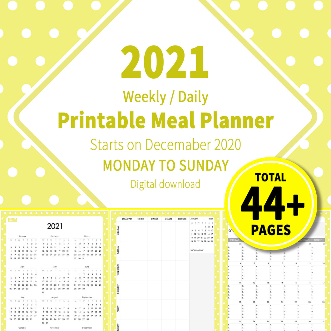 2021 Bubble Yellow : Printable Meal Planner, iPad Planner, Goodnotes Planner, Digital Journal, Notability, Goodnotes Template