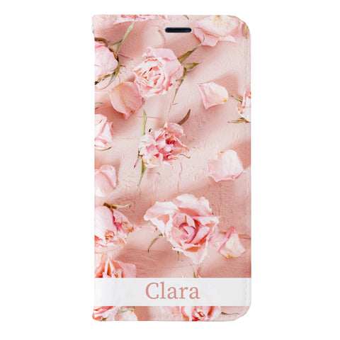 Clara Elegant Rose Leather Wallet Case