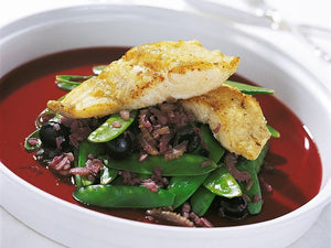 Braised Cod with Red Wine, Green Beans and Black Olives