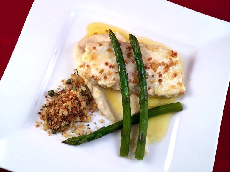 Brown Butter Halibut with Celeriac Puree and a Crisp Caper Crumb Recipe