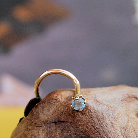 Dainty Aquamarine Nose Stud Set in Yellow Gold - 2mm Stone