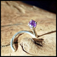 2mm Amethyst Nose Stud