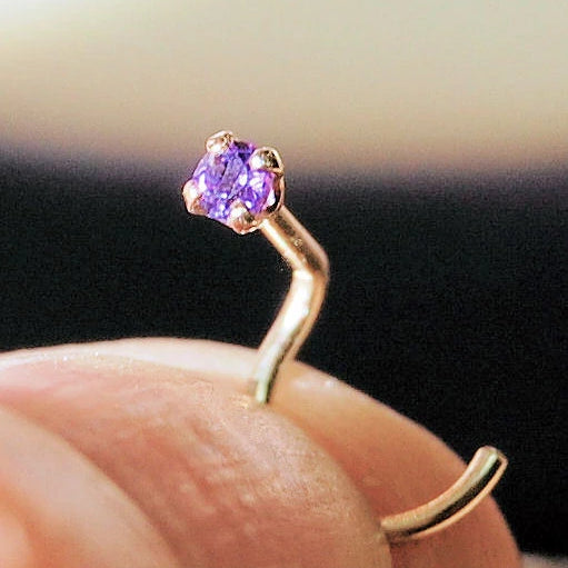 dainty amethyst and gold 2mm nose stud