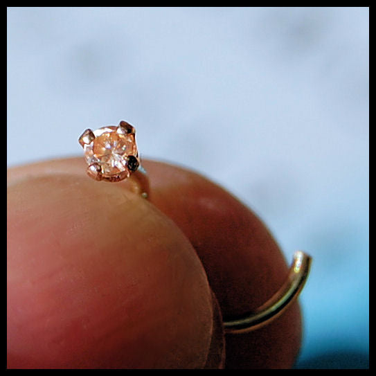 Dainty Champagne Diamond Style Nose Stud Set in Yellow Gold - 2mm Stone