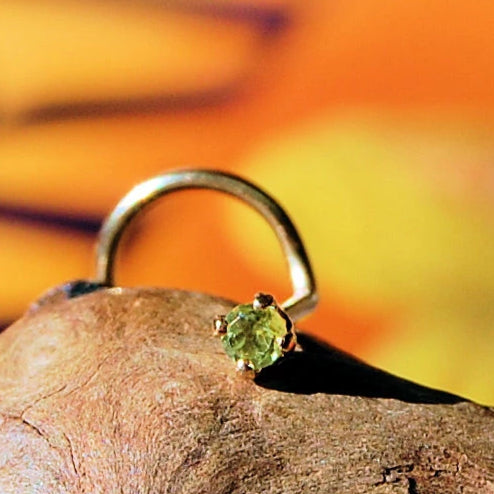 Dainty Peridot Nose Stud Set in Yellow Gold - 2mm Stone