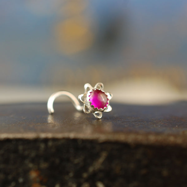 ruby gemstone and sterling silver nose stud