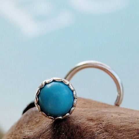 Turquoise Nose Stud in Sterling Silver Serrated Bezel 4mm
