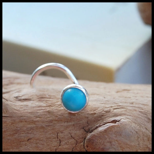 Turquoise Nose Stud in Sterling Silver 4mm