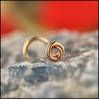 dainty yellow gold nose stud