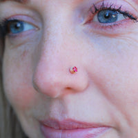 14 karat gold nose stud with ruby