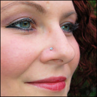 sterling silver nose stud with opal gemstone