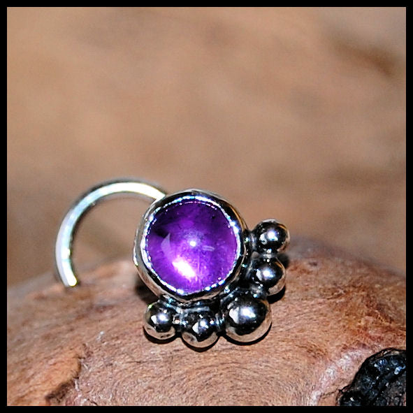 Amethyst Nose Stud in Sterling Silver - Unique Bold Style