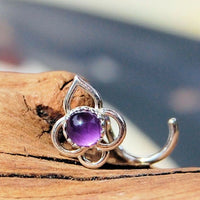 sterling silver and amethyst lotus nose stud