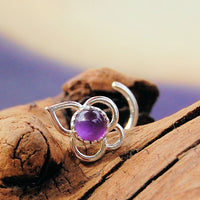 Lotus Flower and Amethyst Nose Stud