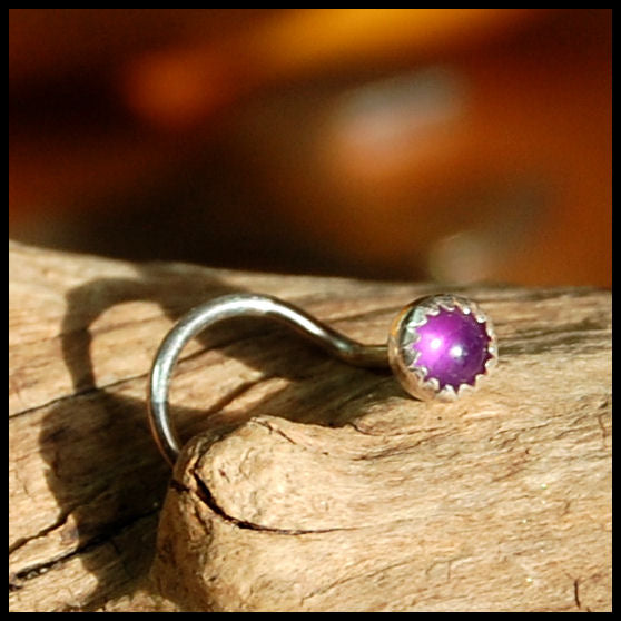 Amethyst Nose Stud in Sterling Silver Serrated Bezel