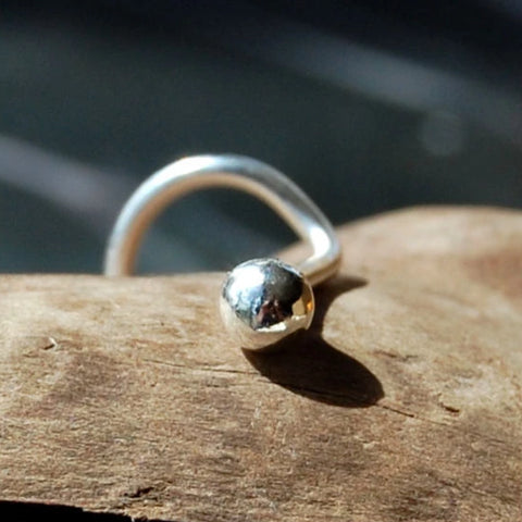 Big Bud Nose Stud in Argentium Sterling Silver