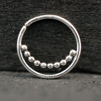 Beaded Silver Septum or Nose Ring