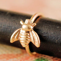 dainty yellow gold bee nose ring