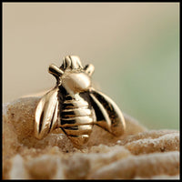 tiny bee nose stud in yellow gold